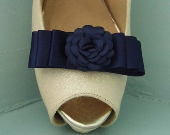 Handmade Navy Satin Bow Shoe Clips with Flower Centre