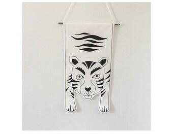 Tiger banner hand drawn onto 100% cotton