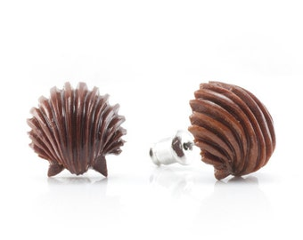"Hand Carved - ""Ariel's Shell"" - Wood Stud Earring - Marina Bay"