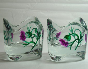 Tea Light Holder with Hand Painted Thistle Design
