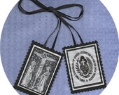 PASSIONIST BLACK SCAPULAR hand sewn religious item as a memorial of the Crucifixion and Passion of Our Lord Jesus Christ *Free Uk/Eire post*