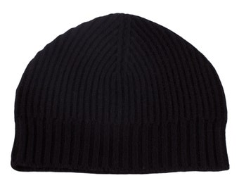 Mens Ribbed 100% Cashmere Beanie Hat - Black - handmade in Scotland by Love Cashmere