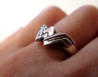Wonder Woman Logo ( Inspired) Silver + Ring + Engagement ring