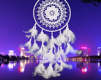 Big Circles White Lace Floral Dream Catcher Net With Feathers Indian Handmade Dreamcatcher Wall Car Hanging Decor Crafts Gift (H6079)