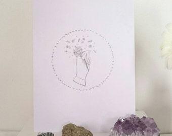 picking flowers art print - a5