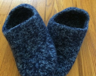 Knitted & Felted Wool Slippers, Knitted Blue Slippers, Knitted House Shoes, Sz 12, Hand Knit Slippers, Knitted Soled Slippers,Men's Slippers