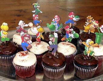 24 Super Mario Bros Cupcake Cake Toppers