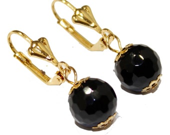 Black Crystal 10mm Dangle Earring 18k Gold Plated French Clasp - Coral Crystal Dangle Earring