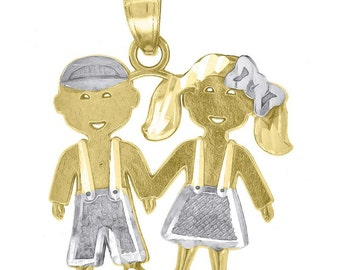 Boy and Girl Two Tone 10k Solid Yellow Gold and 10k Solid White Gold - Boy and Girl Pendant