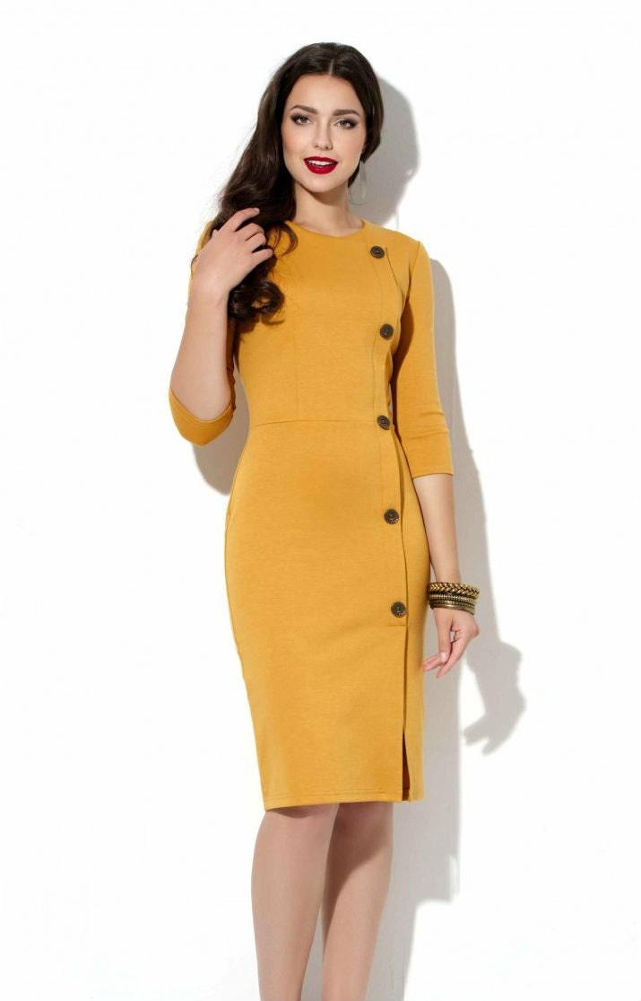 Mustard jersey dress Office yellow dress Autumn dress Spring  Mustard jersey ...