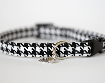 Small Dog or Puppy Collar, Houndstooth, Handmade, Made To Measure