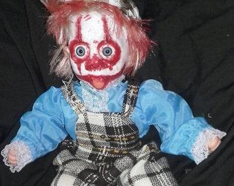 Creepy clown scary horror Gruesome bloody ooak vinyl plastic doll
