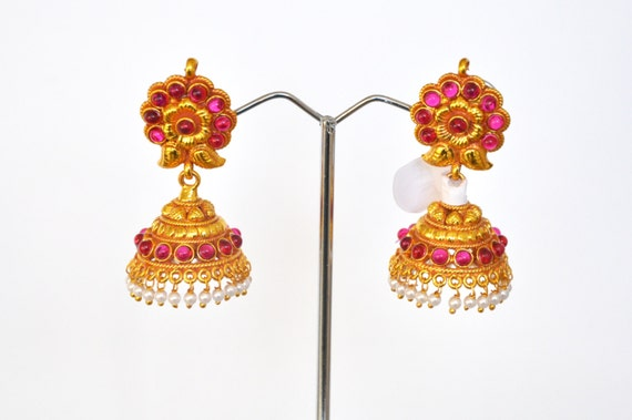 Antique kemp Jhumkis | Indian Jewelry | Indian Earrings | temple jewelry with faux pearls