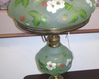 Hand Painted Vintage Satin Glass Table Lamp