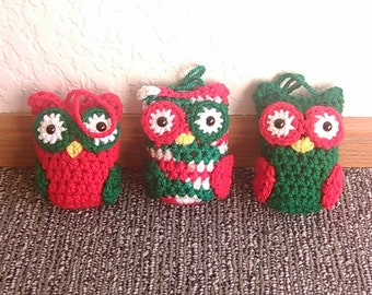 Crocheted Christmas Owl Ornaments - set of 3