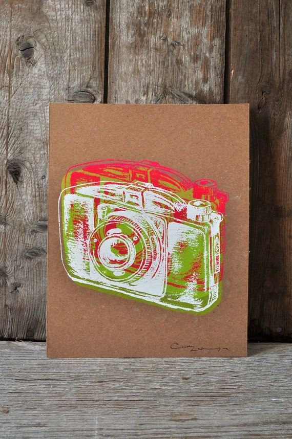 Camera #21, hand pulled silkscreen print, Boyer camera, 8 x 10 inches, open edition.