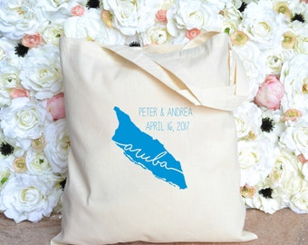 Destination Wedding Welcome Bag - Aruba - Bride and Groom Name and Date