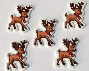 5 Reindeer Christmas  Buttons - Wooden Buttons - Christmas Buttons - #C-00058