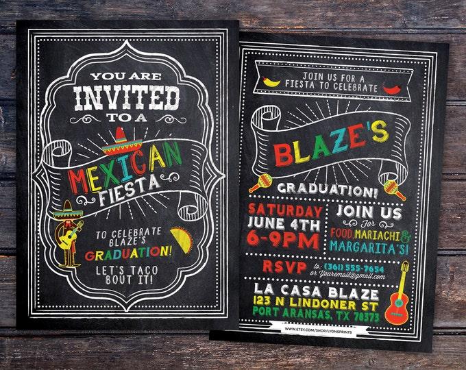 Graduation Party Invitation, Fiesta, Mexican, invite, party, class of 2017, grad, graduate, graduation invitation