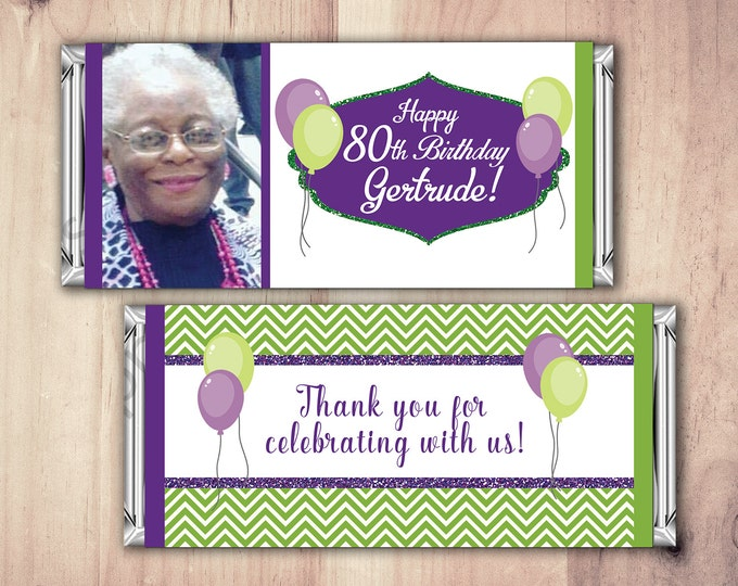 Birthday Candy Bar Wrappers - Chevron, Balloons, Adult Milestone Favors 30th, 40th, 50th, 60th, 70th, 80th Any Age, party favor, gift