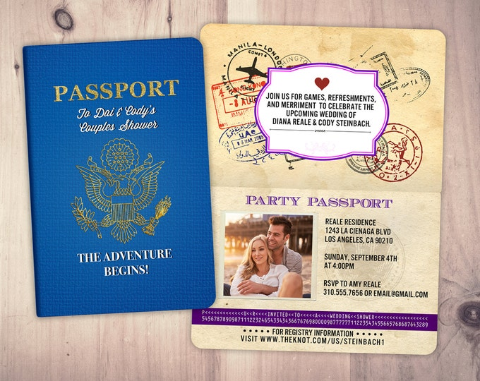 PASSPORT, couples shower, wedding shower, travel birthday invitation, customized passport, travel party, wedding invitation