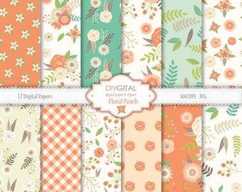 """Floral Digital Paper """"FLORAL PEACH""""- mint and peach, floral wedding, vintage flowers, rose digital paper, for scrapbooking, invites, cards"""