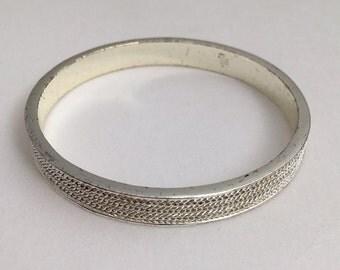 Ralph Lauren Silver-tone Pave' Crystal Pave' Bangle Bracelet