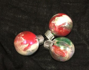 Mini Christmas Ornaments Red White Green x3   Hand inside Marble swirl Tags marbled Glass