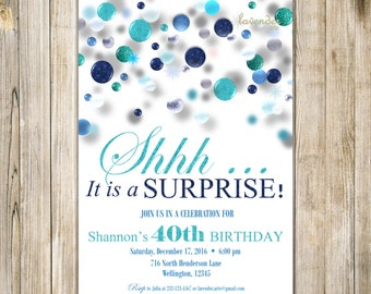 SURPRISE 40th 50th 60th BIRTHDAY Invitations, Digital Turquoise Blue Glitter Birthday Invite, Printable It's A Surprise Mens Womens Birthday