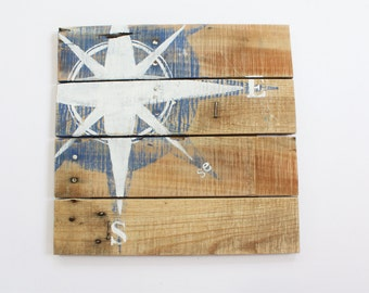 Hand-painted Nautical Compass on Reclaimed Wood