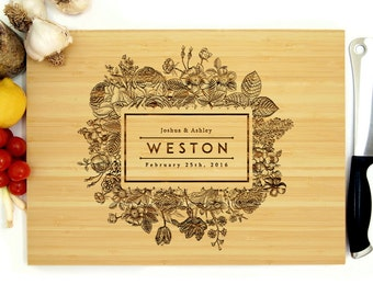 Personalized Cutting Board, Custom Wedding Gift, Anniversary Gift, Customizable Flower Frame, Housewarming Gift, Rustic Wedding