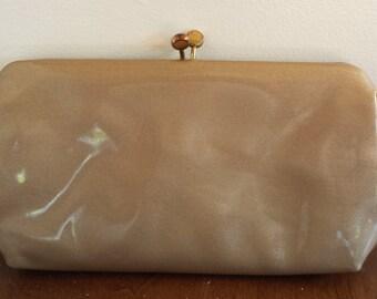 vintage Mid Century Gold Patent Leather Clutch Purse by Bobbie Jerome