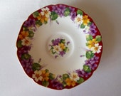 Vintage China Saucer by Paragon. Primroses and Purple Violets. Purple Tea Set Saucer or Replacement. Perfect for an Afternoon Tea Party