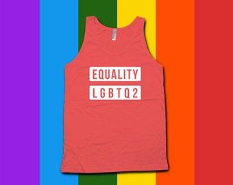 Equality gay pride tank top - Gay Pride Month Ally t-Shirt, Gay Pride Clothing, pride parade, gay pride t-shirt, LGBTQ2 pride, ally -CT-085