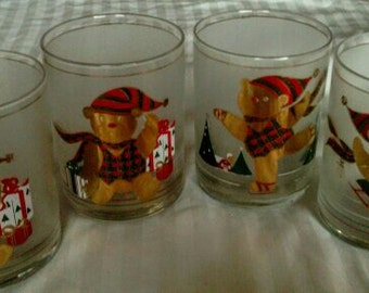 Four Culver 14 oz. Double Old Fashions   Christmas Yule Bears New in Box
