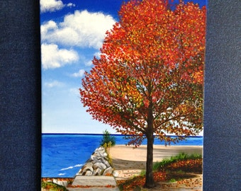 Original Landscape Acrylic Painting, Fall Colors, Lakeside, Beach, 14x18