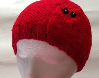 1 Owl Cable Knit Hat in Red, Black Eyes Owl Beanie with or without Pom-pom