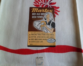 Vintage 1930's/40s Old Stock Martex Dry Me Dry Kitchen Tea Dish Towel Table Runner~ Paper Label/Store Price Tag