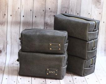HANDMADE Men's Leather Toiletry Case Dopp Kit Shaving Bag OOAK Groomsmen Present Groomsman Gift Wedding, Groom Gift, Boyfriend Gift