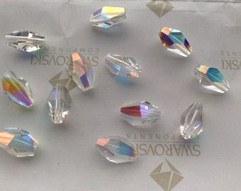 12 pieces Vintage Swarovski #5203 12x8mm Crystal Clear AB Polygon Faceted Beads