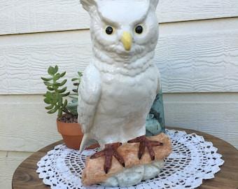 Vintage Ceramic White Owl Statue