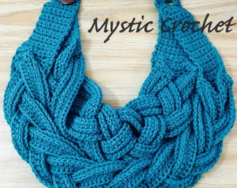 Crochet Double Layer Braided Cowl, Braided-Crochet Necklace, Crochet Cowl, Braided-Cowl, *Elegant Scarf*