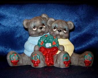 Ceramic Christmas Bear Couple with Wreaths - Teddy Bear Decorations - Christmas Bears - Teddy Bear Cuddle Bears with Wreaths