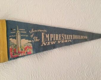 Vintage Empire State Building, New York City, USA pre 1970 Pennant Flag