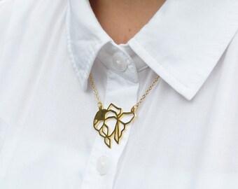 Goldfish ,Origami Necklace, Goldfish Necklace, Fish Jewelry, Geometric Fish , Animal jewelry, Geometric jewelry, Fish Gifts