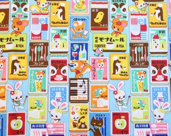by the 1/2 meter or fat quarter / Japanese fabric / kawaii fabric / retro fabric / rabbit fabric / animal fabric / #0001-sky blue
