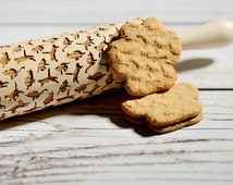 Embossing rolling pin - Cats pattern, Cookies decorating roller, Laser engraved rolling pin
