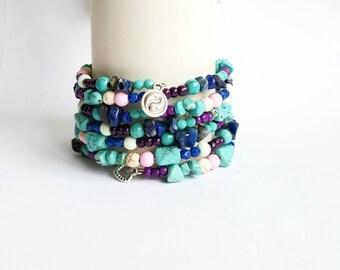 Wrap bracelet, ibiza boho bracelet, multicolor hipster bracelet, memory wire bracelet, mothers day gift, christmas present.