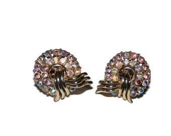 Gorgeous Vintage Signed Trifari Aurora Borealis (AB) Rhinestone Clip On Style Earrings, Vintage Trifari, Vintage Jewelry, Vintage Earrings