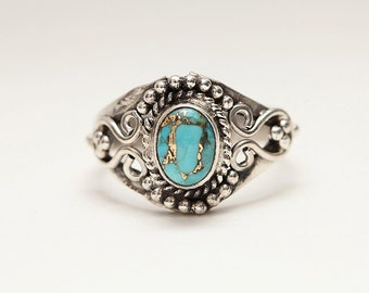 Beautiful Copper Turquoise 925 Silver Ring